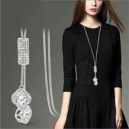 Femmes Charm Perles de Cristal Pendentif Collier de Luxe Collier Long Pull Cha?ne Cadeau de No?l Gemini/_mall Silver Taille Unique