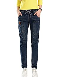PHOENISING Women's Boyfriend Style Trousers Elastic Band & Drawstring Jeans