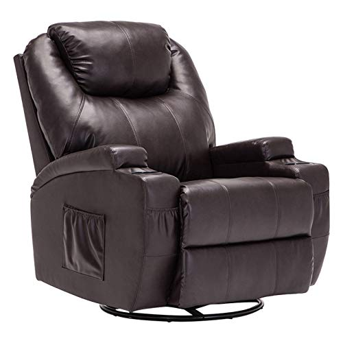 Mecor Massage Recliner Chair PU Leather Recliner Chair with Heat Rocker Recliner with 360 Degree Swivel/Cup Holders/Remote Control for Living Room (Brown) (For Living Room Swivel Chairs Leather)