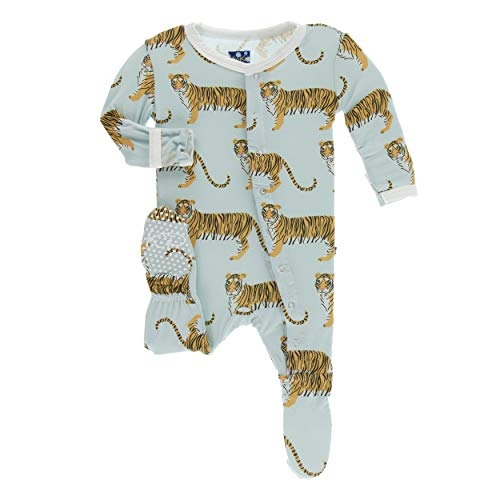 (Kickee Pants Little Boys Print Footie with Snaps - Spring Sky Tiger,)