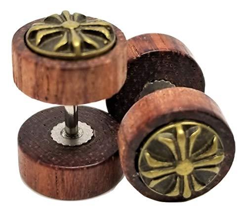 Emblem Cross Iron (Organic Wood w/Metal Iron Cross Emblem Stud Post Earrings - New - Pair!)