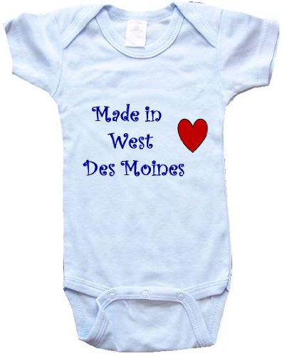 MADE IN WEST DES MOINES - WEST DES MOINES BABY - City Series - Blue Baby One Piece Bodysuit - size Medium (City Of West Des Moines)