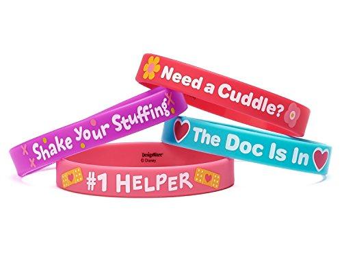 Box Disney Junior Mcstuffins Doc Party Favor (Doc McStuffins Rubber Wristbands Birthday Party Accessory Favours Pack (4 Pack), Multi Color, 2 1/2