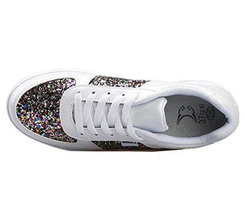 Heel Sequines XIUWU Shoes Mid Up Women's Lace Glittering White Sneakers qw0HfFTC