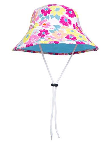 (SunBusters Girls Reversible Bucket Hat (UPF 50+), Prettyberry Blue, Medium)