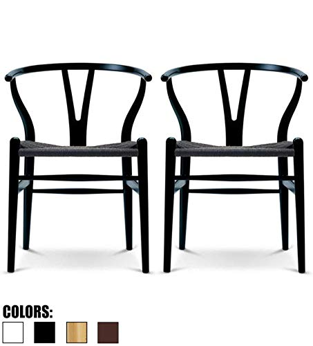 2xhome Set of 2 Black Wishbone Wood Armchair with Arms Open Y Back Open Mid Century Modern Contemporary Office Chair Dining Chairs Woven Black Seat Living Desk