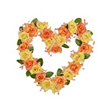 FAVOWREATH Love Series FAVO-W97 Handmade 8 inch Red/Pink/Yellow Roses,Leaf Grapevine Wreath for Summer/Fall Festival Celebration Front Door/Wall/Fireplace Everyday Nearly Natural Home Hanger Decor