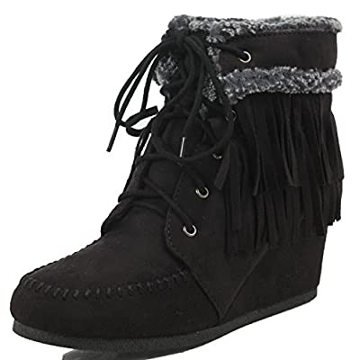 City Classified Women's Faux Suede Faux Fur Moccasin Fringe Lace Up Wedge