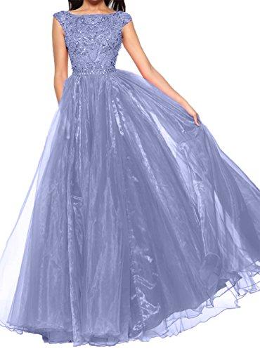 Abendkleider Damen Promkleider Rock Langes Steine Kurzarm Lawender Charmant Abschlussballkleider linie A SqOUZaWx