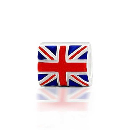(Union Jack British Flag UK London Patriotic Charm Bead For Women For Teens 925 Sterling Silver Fits European)