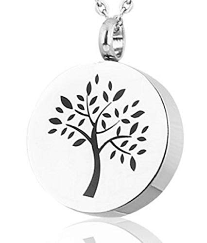 Heartfelt Round with Tree of Life Cremation Jewelry Necklace Urn Memorial Keepsake Pendant for Ashes with Funnel Fill Kit