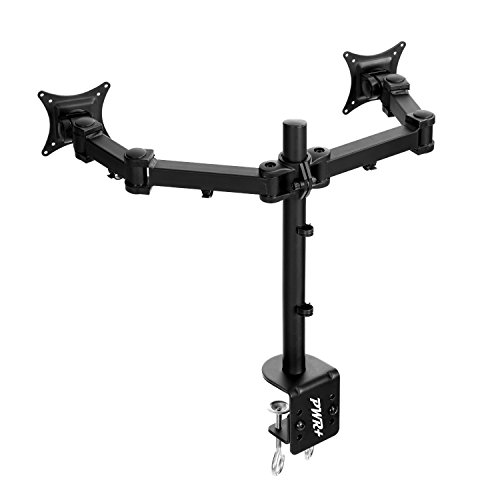 "Pwr+ Executive Office Dual LCD Monitor Desk Mount Stand - Heavy Duty fits 2 /Two Screens upto 27"" Fully-Adjustable-Ergonomic"