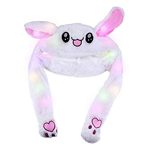 Bestmaple Japanese LED Funny Plush Bunny Hat Cap/Cute Animal Hat/Head-wear Costume Accessory Valentine's Day Gifts Rabbit Hat ()