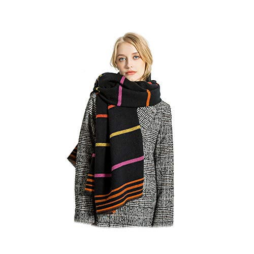 Women Girls Lurex Striped Extra Long extra thick Scarf Wrap Shawls Stole ()