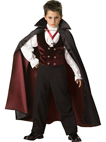 InCharacter Costumes Boys 2-7 Gothic Vampire  Costume, Black/Burgundy, 6