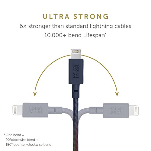 Native Union Belt Cable XL - 10ft Ultra-Strong Reinforced [MFi Certified] Durable Lightning to USB Charging Cable with Leather Strap Compatible with iPhone/iPad (Marine)