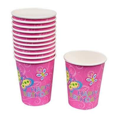 Greenbrier Happy Birthday Butterfly Party Pack Bundle Girls Includes Plates (18) Napkins (20) Cups (24) and Banner (1): Toys & Games