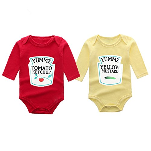 YSCULBUTOL Cotton Ketchup and Mustard Set Bodysuits Twins Halloween Outfit One Piece Cute Funny (9-12 Months) (Halloween Outfit 9-12 Months)