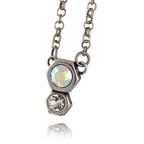 [Nara 2 Hexagon Necklace, Silver Plated Modern Honeycomb Bolt on Pendant with Clear Swarovski] (Cocktail Honey Costumes)