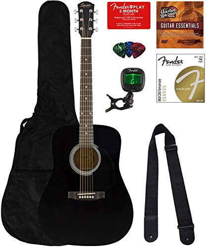 Fender Squier Dreadnought Acoustic Guitar – Black Bundle with Fender Play Online Lessons, Gig Bag, Tuner, Strings, Strap, Picks, and Austin Bazaar Instructional DVD