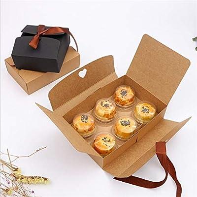 10pcs / Lot Cajas Negras y Kraft con Cajas de Regalo Cajas Favor de la Boda de la Cinta del Partido (Color : Brown, Size : 14x14x5cm): Amazon.es: Hogar