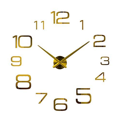 (Botrong Creative Digital DIY Wall Clock Mirror Wall Clock Home Decoration (Gold))