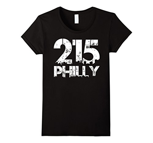 Womens Philadelphia Philly 215 Area Code Distressed Gritty T Shirt Medium - City Phila Center