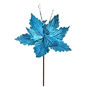 Vickerman 637784-12″ Turquoise Poinsettia Spray (6 pack) (QG191012)