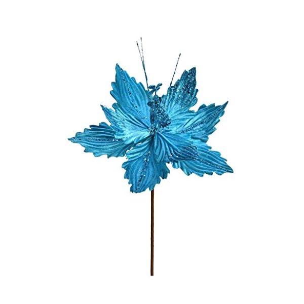 Vickerman 637784-12″ Turquoise Poinsettia Spray (6 pack) (QG191012)