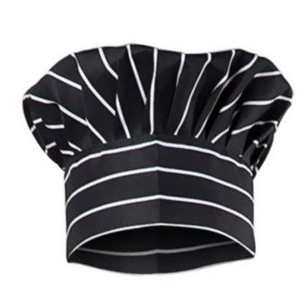 Aurum Creations Cotton Chalk Stripe White Chef Cap Hat Cook Cap Restaurant Cap