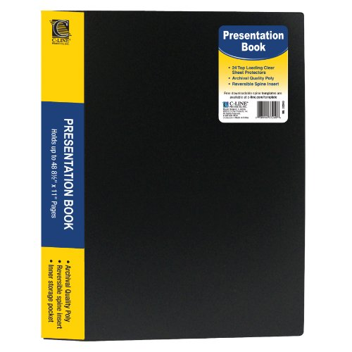 C-Line 24-Pocket Bound Sheet Protector Presentation Book, 48-Page Capacity, for 8.5 x 11-Inch Inserts, Black (33240)