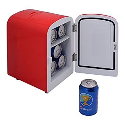 Portable Mini Fridge Cooler and Warmer Auto Car Boat Home Office AC & DC Red Small Refrigerator