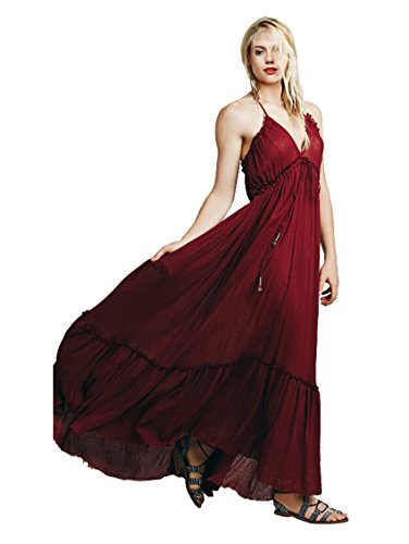 CA Mode Women's Halter Backless Bridesmaid Formal Evening Prom Gown Maxi Dress, Burgundy, Medium