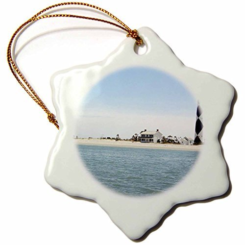 OneMtoss North Carolina, Cape Lookout Lighthouse US LSE Lynn Seldon Snowflake Porcelain Ornament,