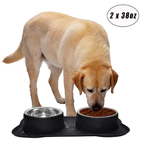Easeurlife Stainless Steel Dog Bowl Set 2 x 38oz No Spill/Non-Skid Silicone Mat Double Pet Bowls Set for Medium Dogs, Each Bowl About 1100ml 2018 Newest Version, Black