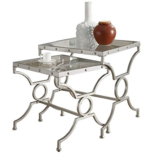 - Pemberly Row 2 Piece Square Glass Top Nesting Tables in Satin Silver