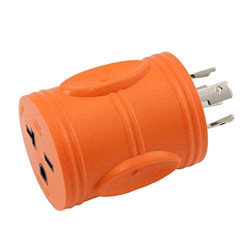 AC WORKS [ADL1420620] Locking Adapter NEMA L14-20P 20Amp 125/250Volt 4-Prong Generator Locking Plug to NEMA 6-15/20R 250V 15/20Amp T-Blade Adapter