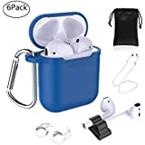 Airpods Accessories - Derhom Apple Airpods Silicone Case Cover | Airpods Watch Band Holder | Headphone Accessories Bag[Include Anti-lost Strap/Keychain/ Earhooks] for Apple Airpod (Blue)