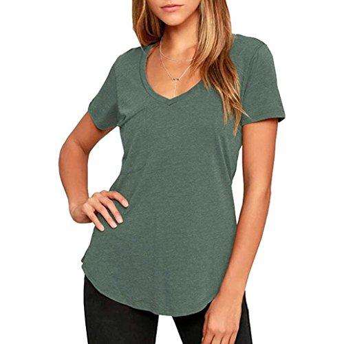 Beautyfine Clearance Sale! Women Solid Blouse, Slim V-Nick Tops T-Shirt S-XL Curved Hem