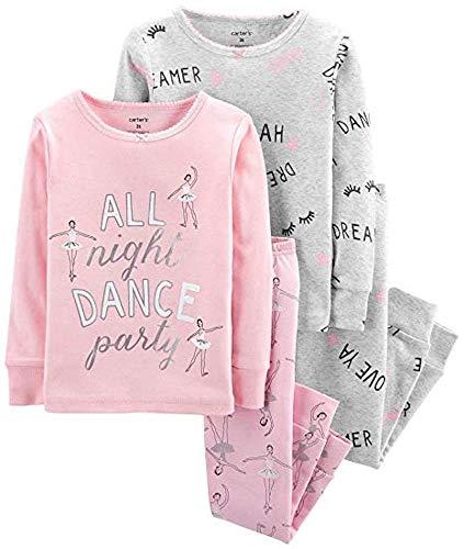 (Carter's Girls' 4-Piece Snug Fit Cotton Pajamas (Pink/Dance, 12))