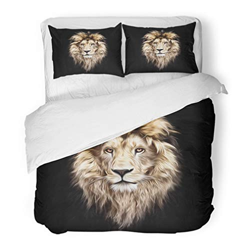 Emvency Bedding Duvet Cover Set Full/Queen (1 Duvet Cover + 2 Pillowcase) Animal Portrait of Beautiful Lion in The Dark Oil Paints Lines Head African Beast Hotel Quality Wrinkle and Stain Resistant