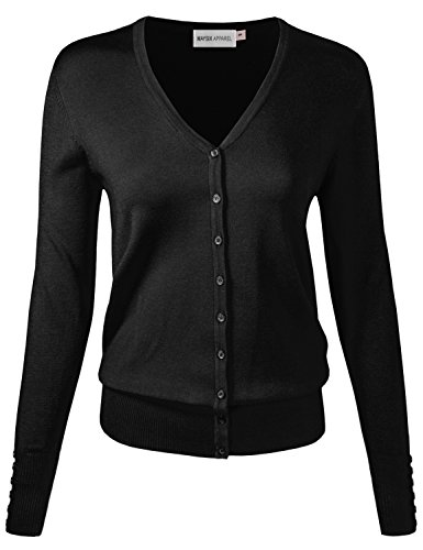 MAYSIX APPAREL Long Sleeve Button Down V-Neck Knit Sweater Cardigan for Women (S-3X, 7size)