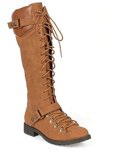 [Harness Moto Vegan Leatherette Knee High Lace Up Harness Moto Women's Boot] (Furry Boots Cheap)