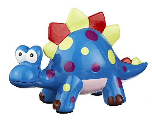 Friendly Dinosaur Rich Blue With Lime Green 10 X 6 Ceramic Childrens Coin Bank