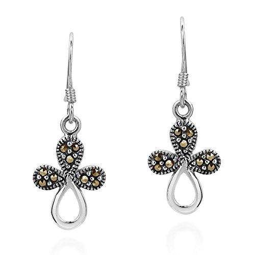 Modern Marcasite Style Pyrite Flora Cross .925 Sterling Silver Dangle Earrings