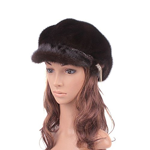 UK.GREIFF Women's Trendy Adjustable Mink Fur Newsboy Caps Winter Hat Brown by UK.GREIFF