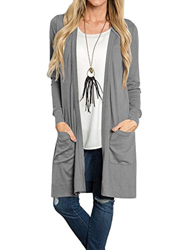 Tribear Women's Long Sleeve Open Front Loose Causal Lightweight Kimono Cardigan(Deep Gray,Large)