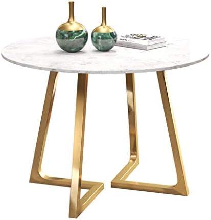 Laagste Prijs Smeedijzeren salontafel, marmeren eettafel, ronde bijzettafel, hoge temperatuur nano-gelakt frame, voor woonkamer café ontvangstruimte (grootte optioneel)  9fEwIAn