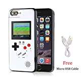 Gameboy Case for iPhone 6P/6SP/7P/8P, Chu9 Retro 3D Playable Gameboy Cover Case with 36 Classic Games, Handheld Color Screen Video Game Console Case for iPhone (White, iPhone 6P/6SP/7P/8P)