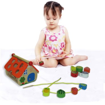 Kid's Christmas Gift | Wooden Toy House with Numbers and Fruits | Educational Activity Center with Counting Beads and Blocks by dazzling toys